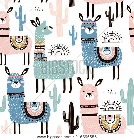 Seamless pattern with lamma cactus and hand drawn elements. Creative childish texture. Great for fabric textile Vector Illustration