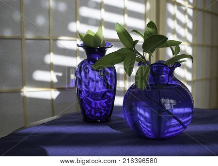 Two blue vases still life on blue cloth with reflections on screen behind.