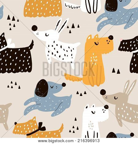 Childish seamless pattern with hand drawn dogs. Trendy scandinavian vector background. Perfect for kids apparelfabric textile nursery decorationwrapping paper