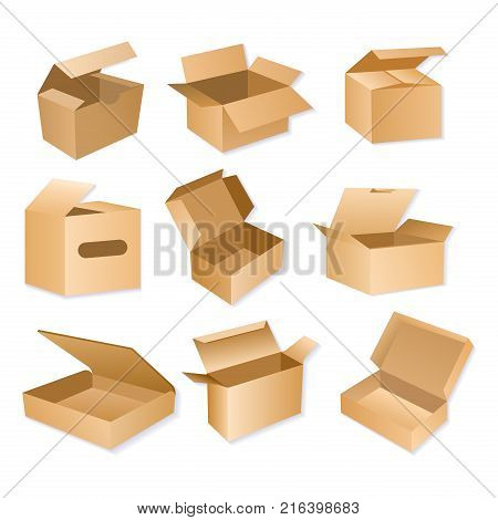 Vector illustration of carton packaging box. Realistic brown cardboard delivery packages isolated on white background