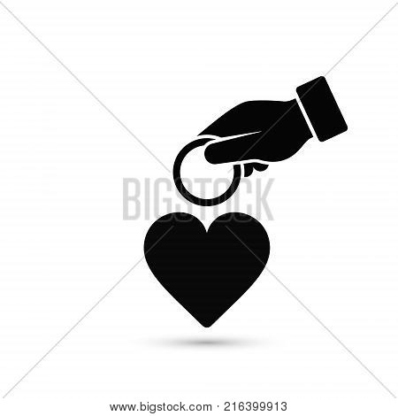 Hand put coin in heart illustration. Invest to your health or your love illustration. Vector concept.