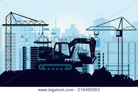 Vector illustration of ground works on construction concept. Excavator digging ground silhouette of buildings and cranes on background in flat style