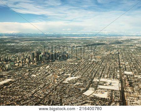 Winter Aerial View Of Calgary Alberta