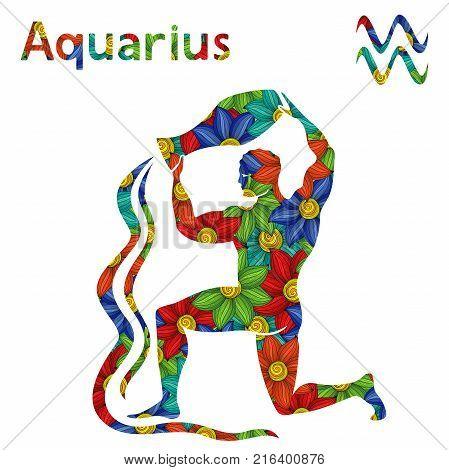 Zodiac Sign Aquarius With Stylized Flowers