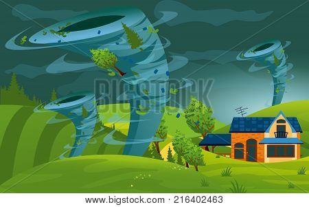 Vector illustration of tornado storm hit the town. Hurricane in village destroy building, fields and trees in flat style