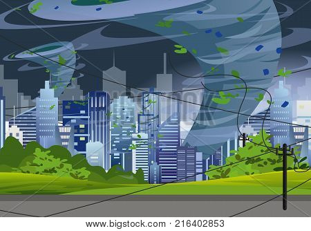 Vector Illustration tornado in modern city destroy buildings. Hurricane huge wind in skyscrapers, waterspout twister storm concept in flat style