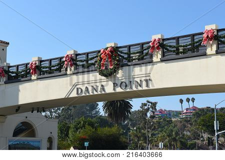 DANA POINT, CA - DEC 1, 2017: Pedestrian Bridge over Pacific Coast Highway. The bridge takes people over the busy highway to Doheny State Beach.
