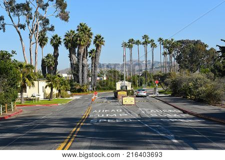DANA POINT, CA - DECEMBER 1, 2017: Doheny State Beach entrance. The beach is a popular surf spot with Volleyball courts, picnic areas and campground.
