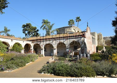 San Juan Capistrano, Ca - December 1, 2017: Grounds at the historic mission founded in 1776.