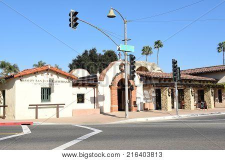 San Juan Capistrano, Ca - December 1, 2017: Mission San Juan Capistrano main entrance. The historic landmark and museum, is the Birthplace of Orange County.