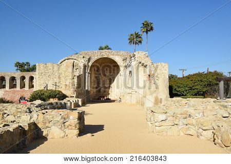 San Juan Capistrano, Ca - December 1, 2017: Great Stone Church ruins. The Church building was destroyed by an earthquake in 1812 and never rebuilt.