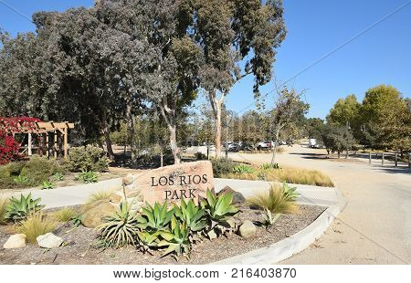 San Juan Capistrano, Ca - December 1, 2017: Los Rios Park. The park is located in the heart of the historic Los Rios District the oldest community in California.