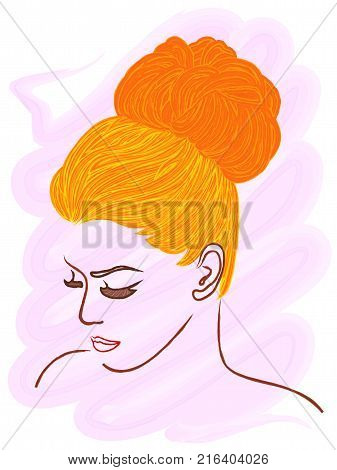 Model with pulling orange hair to the top of the head hand drawing color vector illustration with brush as a watercolor picture over pink