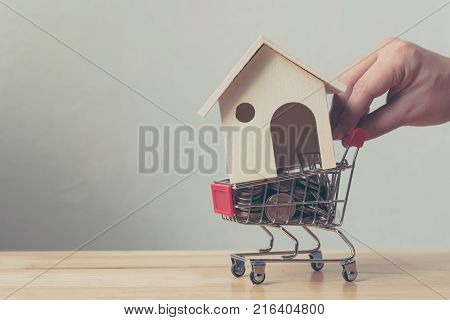Property investment and house mortgage financial concept House and money coin in shopping cart