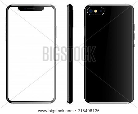 Black smartphone isolated white background front back side vector illustration