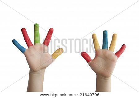 Children Colored Hands.