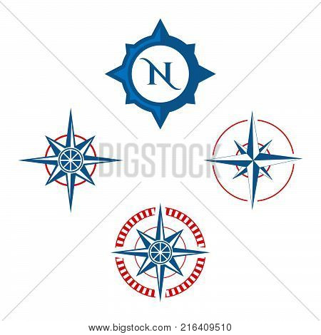 Compass icon isolated on white background. Compass vector logo. Flat design style. Modern vector for web graphics - stock vector,eps 8,eps 10