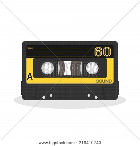 Retro audio cassette design. Old record player tape isolated on a white background. Vintage style music storage icon. Vector illustration.