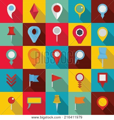 Map pointer icons set. Flat illustration of 25 map pointer vector icons for web