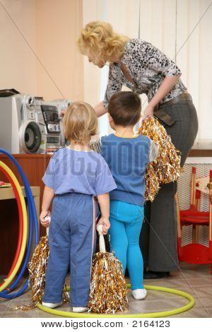 Girl And Boy In Kindergarten