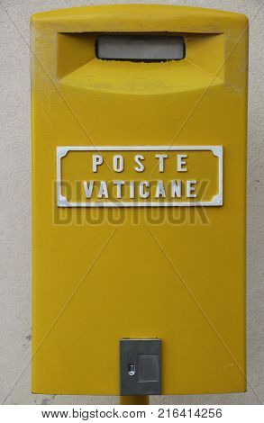 A mailbox at the Vatican Post Office at Vatican City in Rome Italy.Text is translated in Englisch: post of the Vatican.