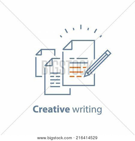 Contract terms and conditions, document paper, creative writing and storytelling, brief text, write summary, assignment, vector line icon, thin stroke illustration