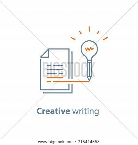 Creative writing and storytelling concept, learning course, education assignment, brief summary, vector line icon, thin stroke illustration