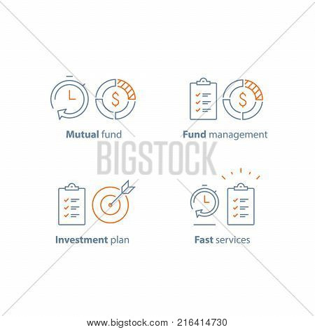 Time is money, mutual fund, term and conditions, investment strategy, finance solution, business plan, project management, financial summary, brief report, fast service, vector line icon thin stroke