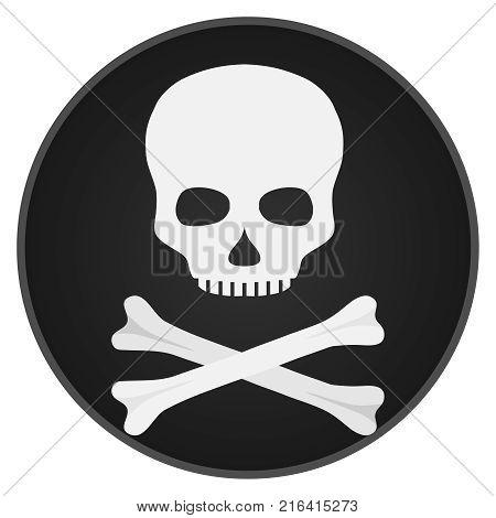 Skull with bones. Skull and bones on a black background. Flat design vector illustration vector.