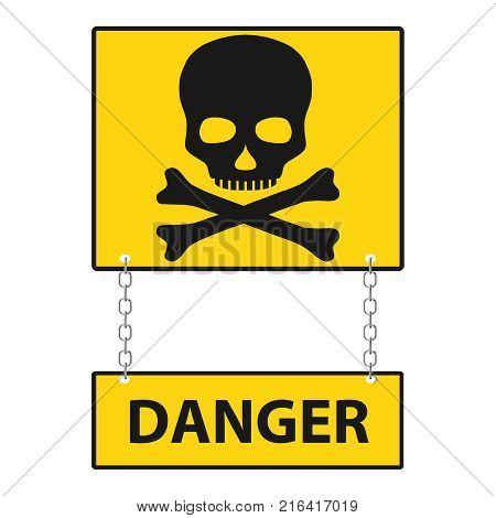 A skull with bones with an inscription is danger. Skull and bones on an orange background. Flat design vector illustration vector.