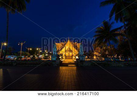night scene of Wat Phumin in Nan province, Thailand