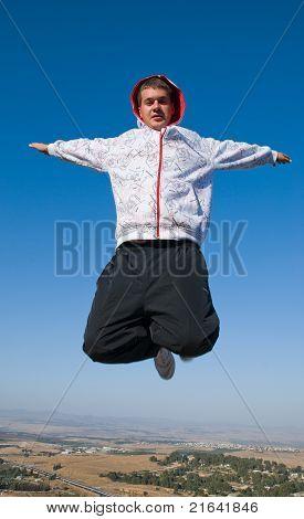 A man in freefall