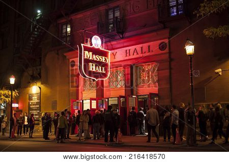 Toronto Canada - Oct 21 2017: Exterior of the performing arts theater Massey Hall in the city of Toronto