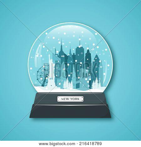 New York City snow globe. Merry Christmas. Vector illustration.