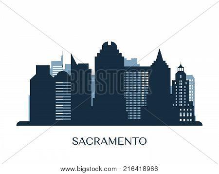 Sacramento skyline monochrome silhouette. Design vector illustration.