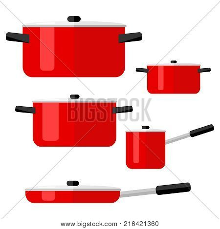Pans set of pots and pans. Kitchenware. Flat design vector illustration vector.