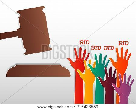 Many Hands Holding And Wood Hammer. Auction Concept , Paper Art Style.