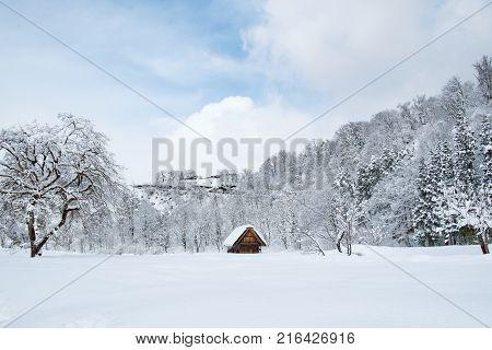 Historic Villages of Shirakawa-go and Gokayama Japan. Winter in Shirakawa-go Japan. Traditional style huts in Gassho-zukuri Village Shirakawago and Gokayama Heritage Site.