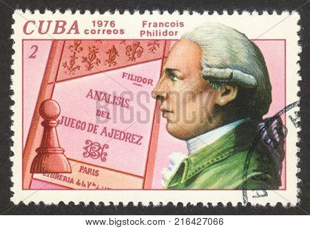 MOSCOW RUSSIA - CIRCA NOVEMBER 2017: a post stamp printed in CUBA shows a portrait of Simon Bolivar the series