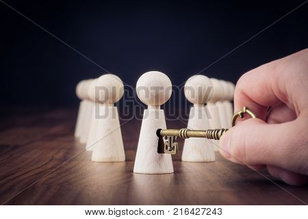 Unlock potential motivational concept. Manager (HR specialist) unlock leader potential represented by figurine and hand with key.
