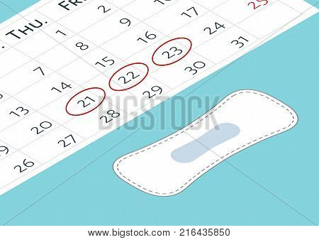 Vector illustration of blood period calendar with blood drops. Menstruation period pain protection. Feminine hygiene monthlies rainy days. A calendar with the menstrual days marks and menstrual pads.