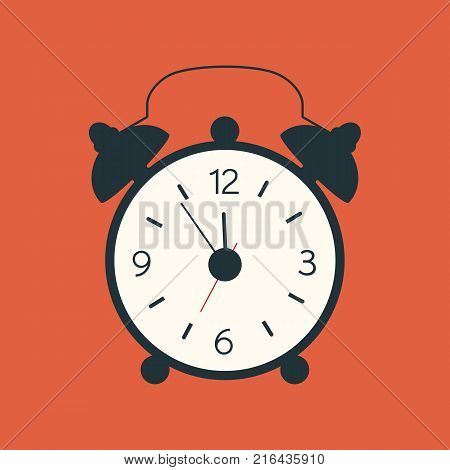 A vector illustration in flat style of a black alarm clock isolated on orange background. Old modern clock silhouette. Black alarm clock with wake-up time