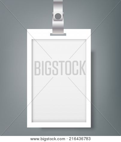 Blank Name Tags Mockup. Vector Illustration of Identity Card Badge mockup cover template