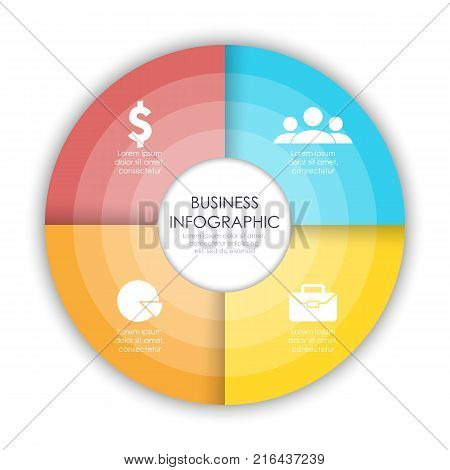 Round infographic diagram. Circles of 4 elements. Vector EPS10