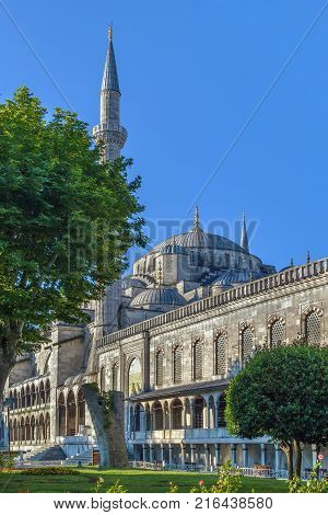 The Sultan Ahmed Mosque known as the Blue Mosque is an historic mosque in Istanbul Turkey