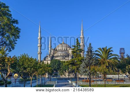 The Sultan Ahmed Mosque known as the Blue Mosque is an historic mosque in Istanbul Turkey. View from Sultan Ahmed square