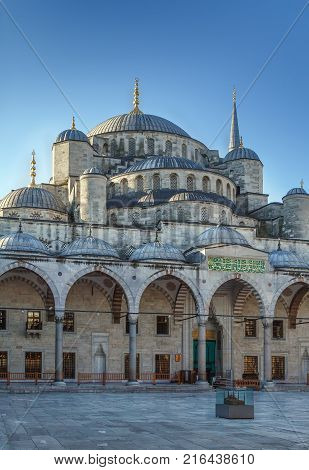 The Sultan Ahmed Mosque known as the Blue Mosque is an historic mosque in Istanbul Turkey. View from inner courtyard.