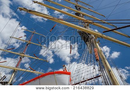 SAILING SHIP - Masts of a sailing ship against the sky poster