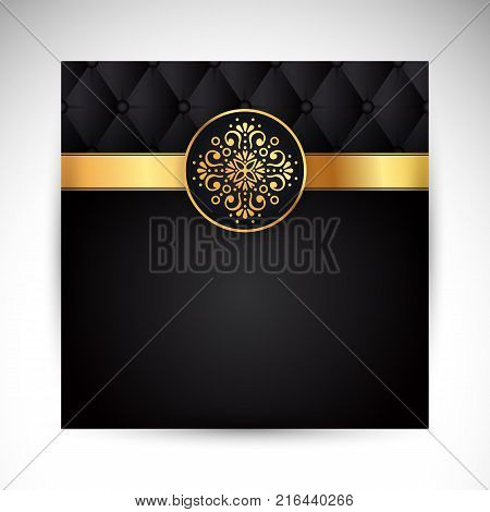 Gold black background design vector. Sun Indian pattern. Eye peacock feather frame. Oriental mandala swirl ornament for luxury wedding, beauty fashion concept, royal holiday party cards.