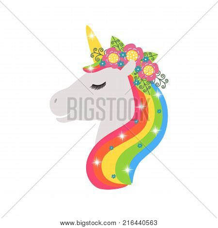 Unicorn with a floral wreath vector icon isolated on white. Head portrait horse sticker, patch badge. Cute magic cartoon fantasy cute animal. Rainbow hair. Dream symbol. Design for children